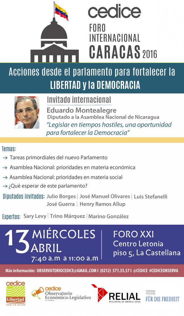 FORO INTERNACIONAl Acciones desde el parlamento para fortalecer la libertad y la democracia.